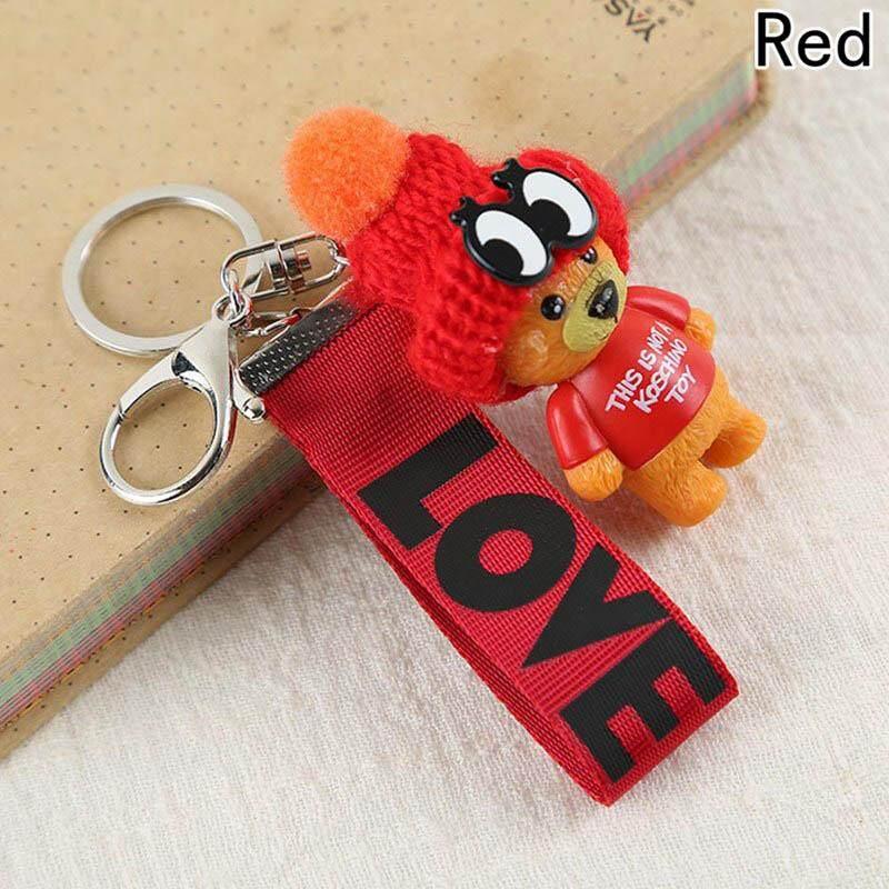 Women Creative Webbing LOVE Letter Cute Teddy Bear Chic Keyring Keychain -  intl fe6c36f4a4