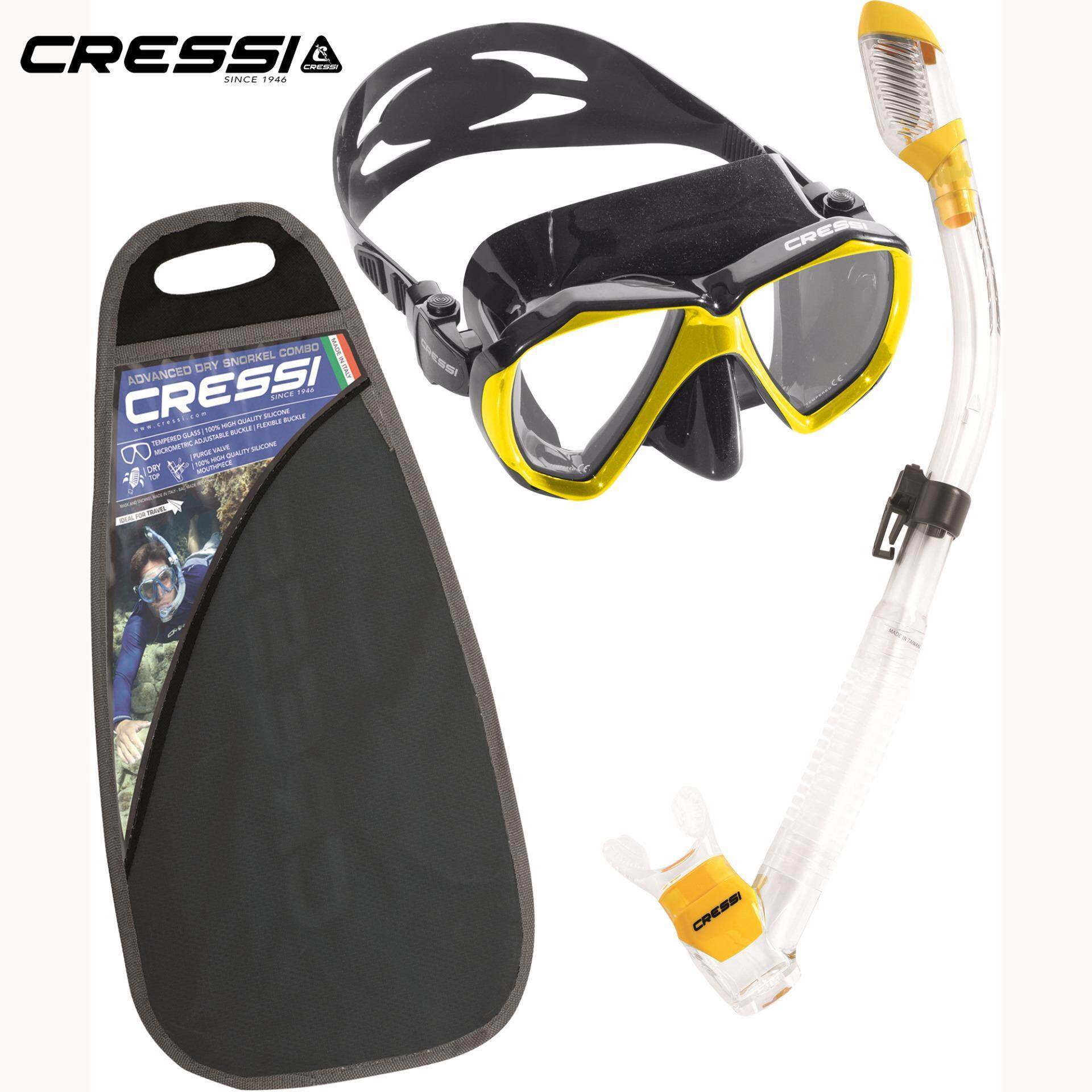 14aacb8a1906 Cressi RANGER DRY Snorkeling set Diving Mask Dry Snorkel Silicone Skirt  Tempered Glass lense Diving mask