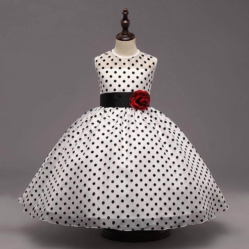 Teresastore Toddler Baby GirlS Kids Dot Print Wedding Bridesmaid Tutu Princess Pageant Dress