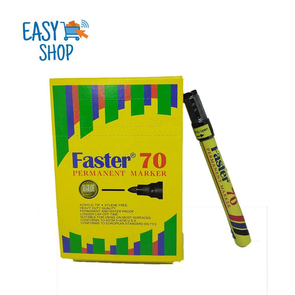 1 box with 12 Pcs of Faster 70 PERMANENT Marker Pen (Red/Blue/Black)