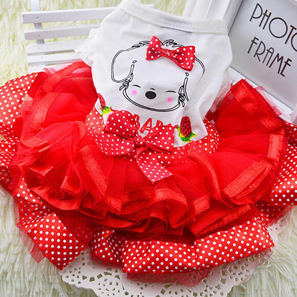 Summer Puppy Pet Dog Cat Clothes Bubble Dress Gauze Skirt Apparel Costume Red S M Big=l - Intl By Outop Store.