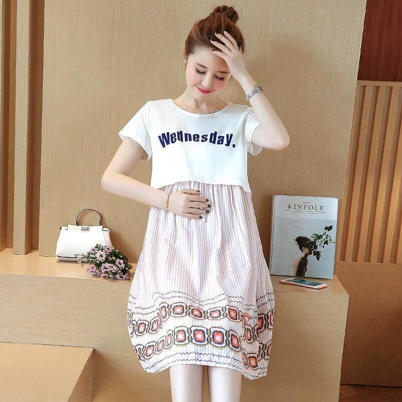 Musim Panas Mode Terkini Lucu Lengan Pendek Baju Ibu Hamil Longgar Nyaman  Pink   Putih Rok b64c5e6616
