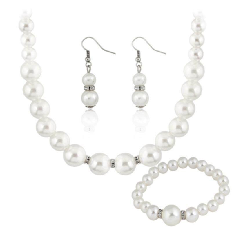 Linfang Wanita Sederhana Perhiasan Fashion Terletak Boutique Kalung Mutiara Anting-Anting Gelang-Internasional