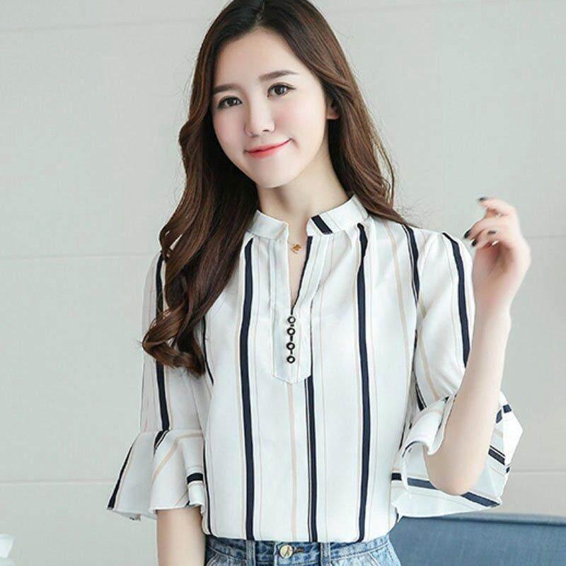 Detail Gambar INWPLLR Casual Floral Blouses Shirts Women's Fashion Tops Female Korean V-neck Short Sleeve Shirts Summer Plus Size Women Blouses Terbaru