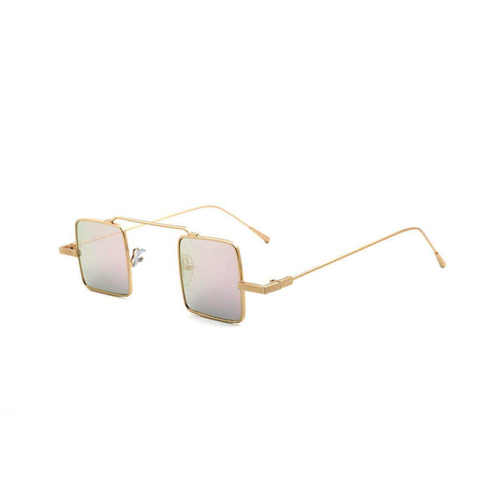 Retro Kecil Bingkai Persegi Kacamata Hitam Reflektif Lensa Berwarna Sun Kaca  Warna  Emas Frame Pink 0664966e75