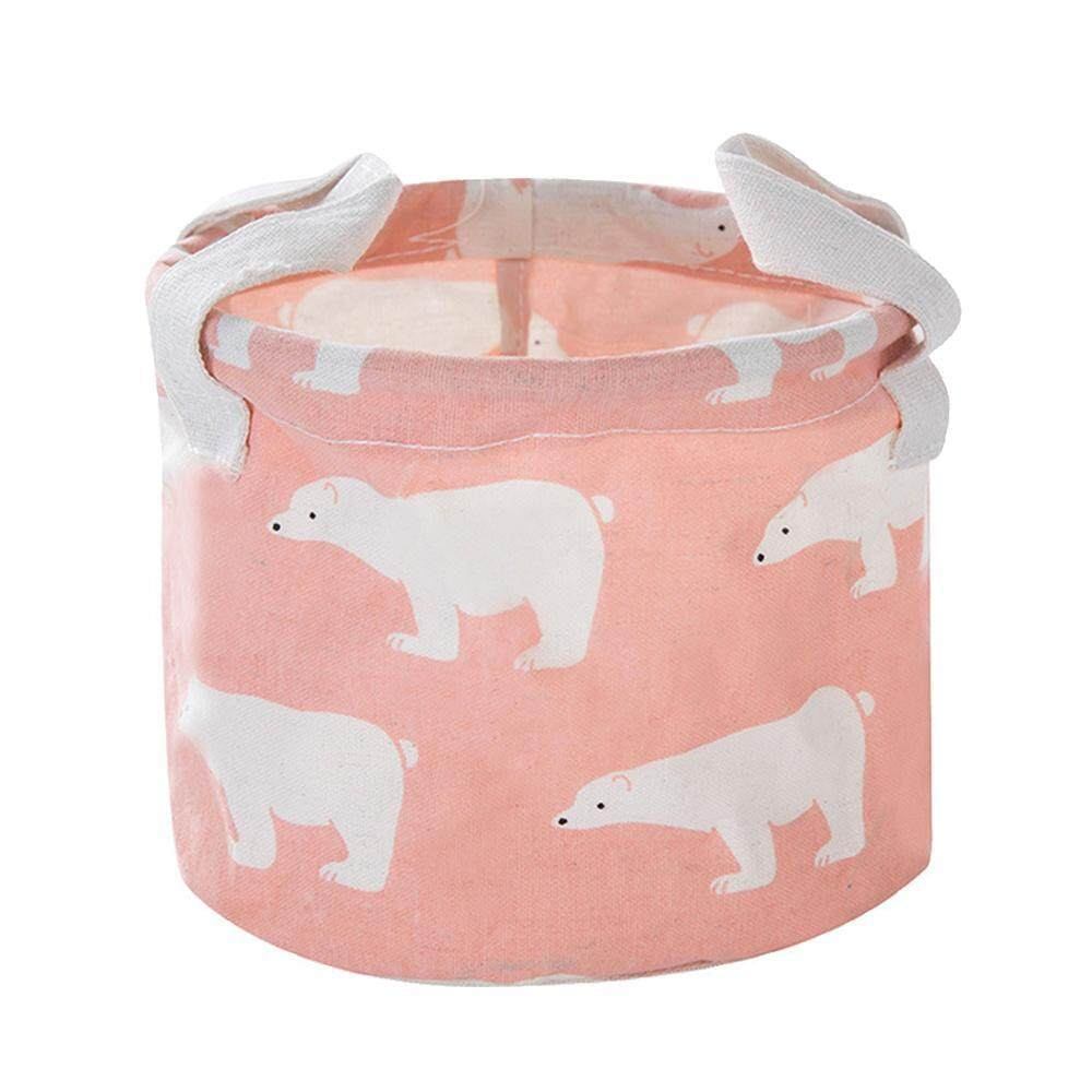 yeopor Pawaca Collapsible Round Basket Fabric Storage Bin Organizer With Handles For Sundries, Gadgets, Toy Organizer, Pet Toy Storing, Kids Basket Baby Bin, Blue Polar Bear - intl
