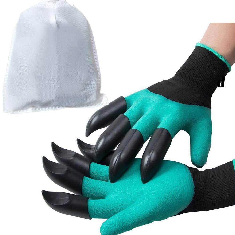 Osbornshop 1 Pair Baru Sarung Tangan Berkebun untuk Taman Menggali Menanam dengan 8 Cakar Plastik ABS-Intl