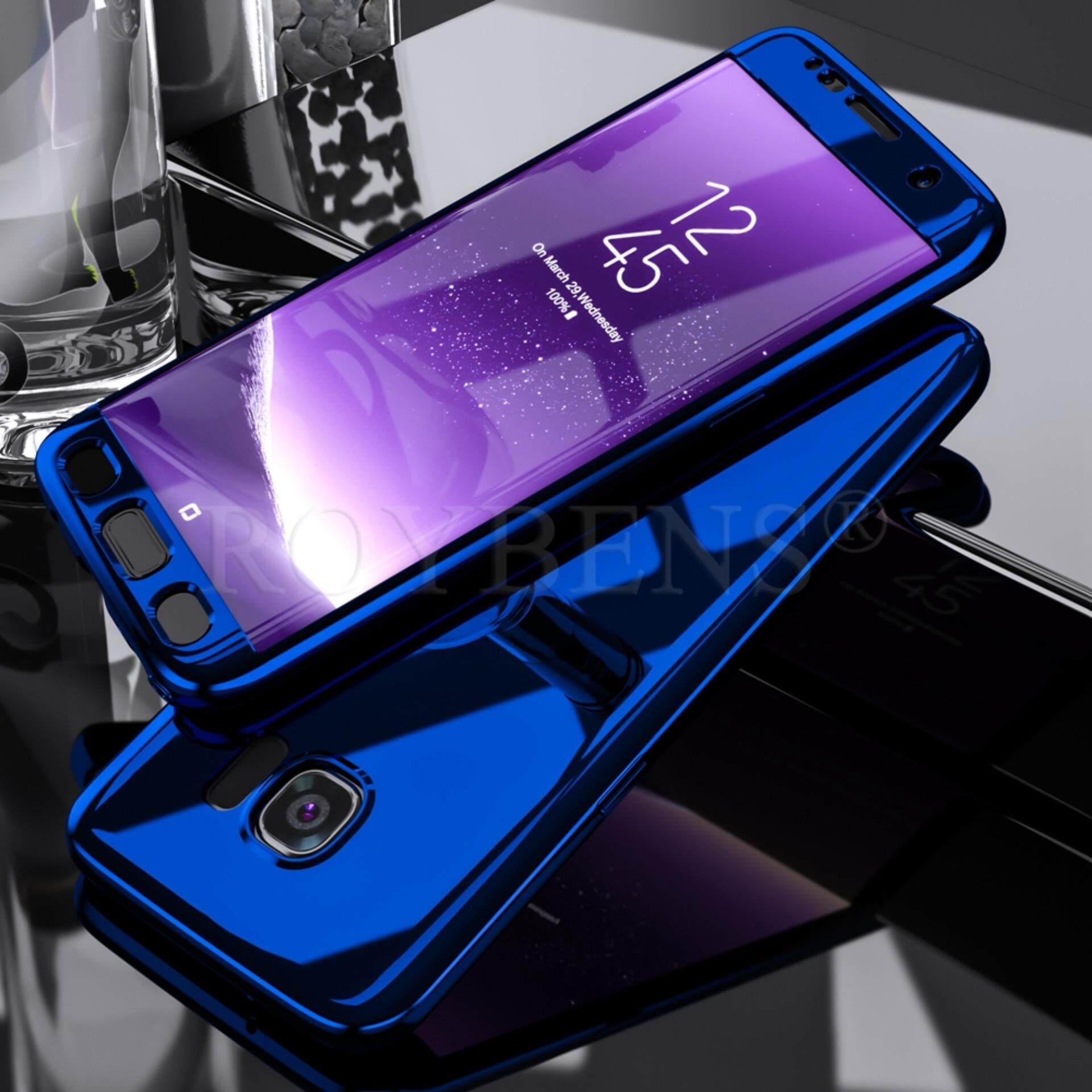 Roybens 360 ° Hibrida Tahan Benturan Ultra Tipis Case Penutup Cermin Kulit untuk Samsung Galaxy S7
