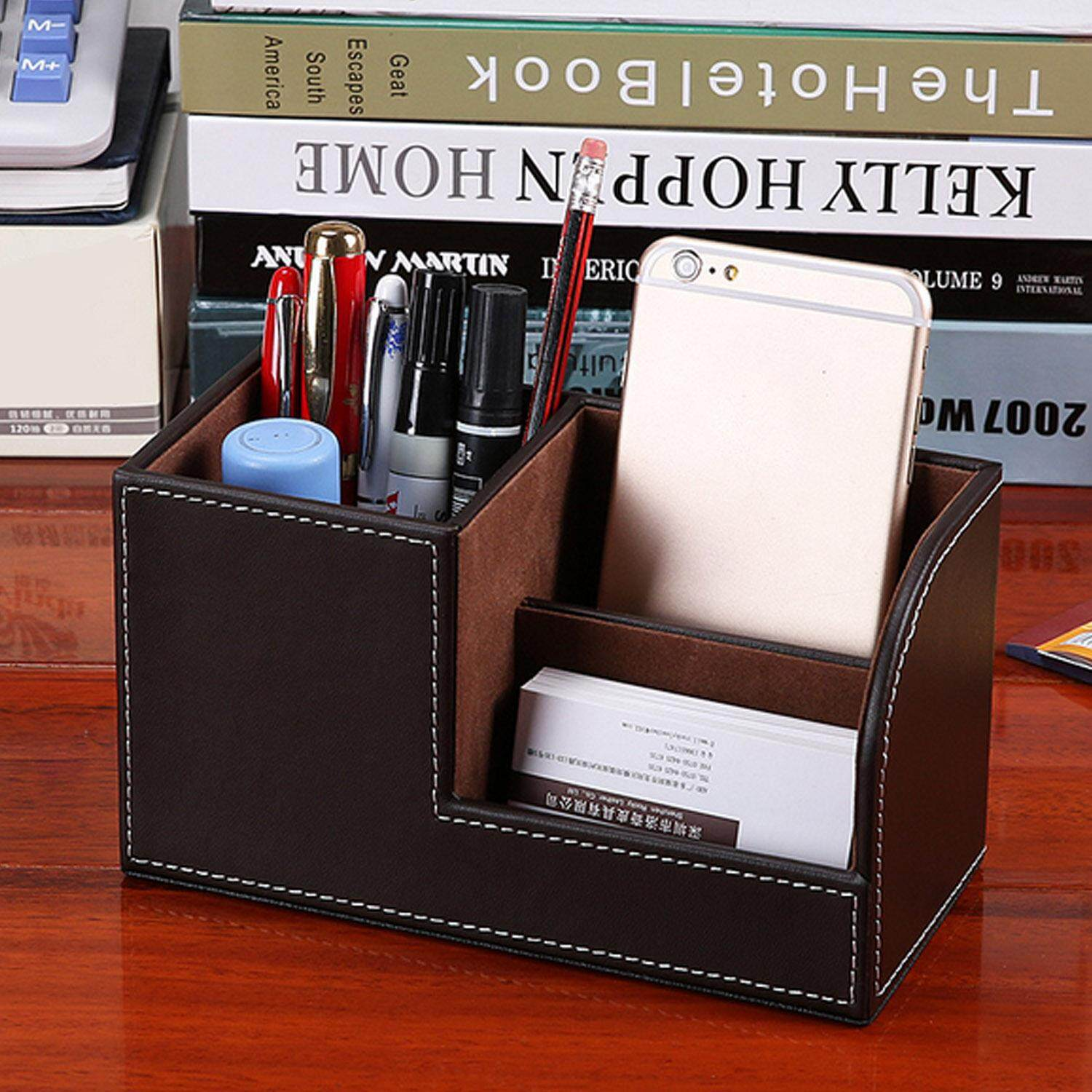 Mua Multi-functional PU leather Desk Storage Holder Organizer Container for Pencil Paper Clips Staple Puller Cards Ruler Home School Office