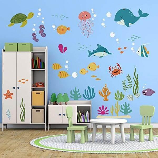 Decalmile Di Bawah Laut Dolphin Fish Stiker Dinding Anak Kamar Dekorasi Dinding Vinyl Kupas dan Tempel