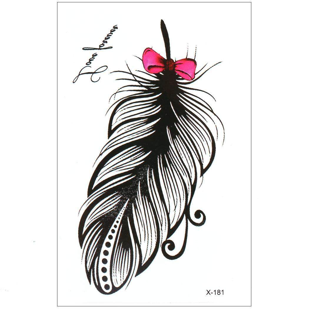 Hình ảnh High Quality Sunwonder Elegant Feather Removable Waterproof Temporary Tattoo Sticker Body Art Sticker