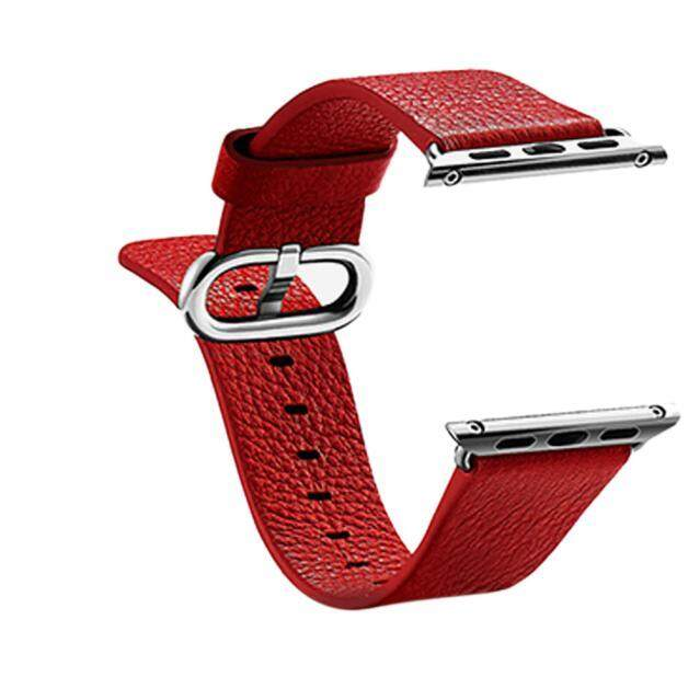 ล่าสุด Leather Watch Band Strap With Classic Buckle For Apple Watch 38MM BK ราคาถูกที่สุด