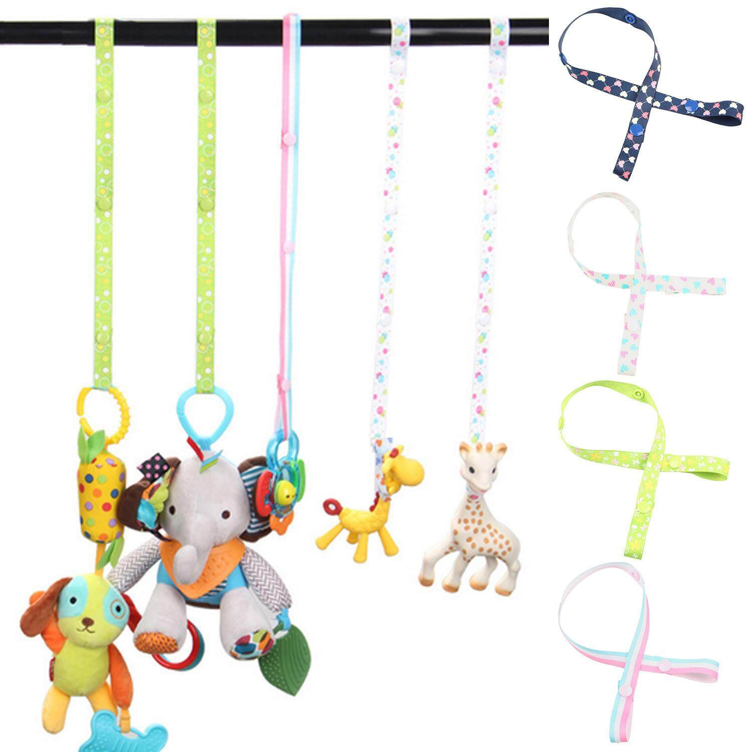 5pcs Assorted Colors Adjustable Anti-Drop Baby Bottle Toys Sippy Cup Holder Strap Clip Hanger With Fixed Button For Stroller Pram - Intl By Stoneky.