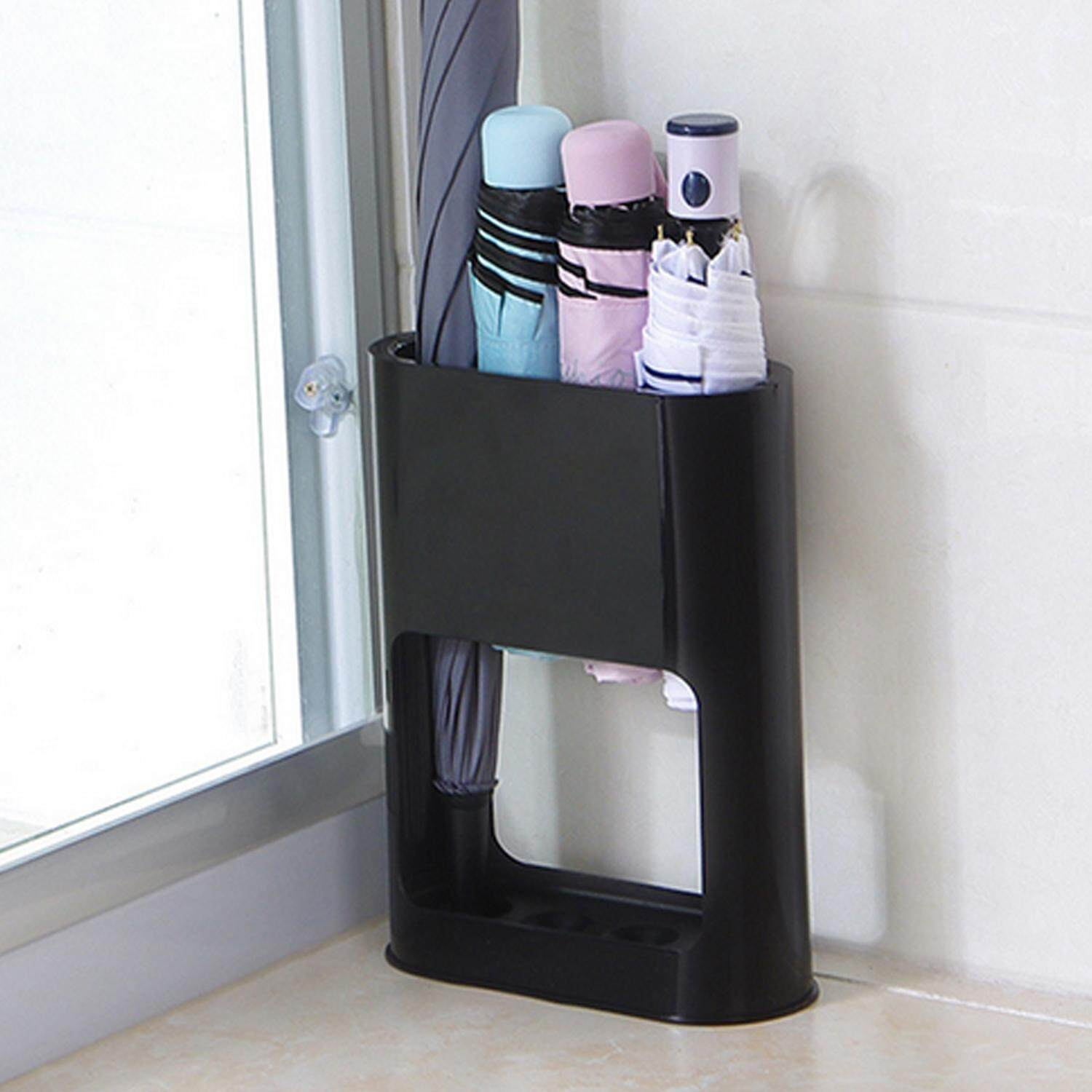 Universal 4-Slot Plastic Umbrella Stand Storage Holder Support Racks Shelve Organizer with Removable Drip Tray for Hallway Outdoor Indoor