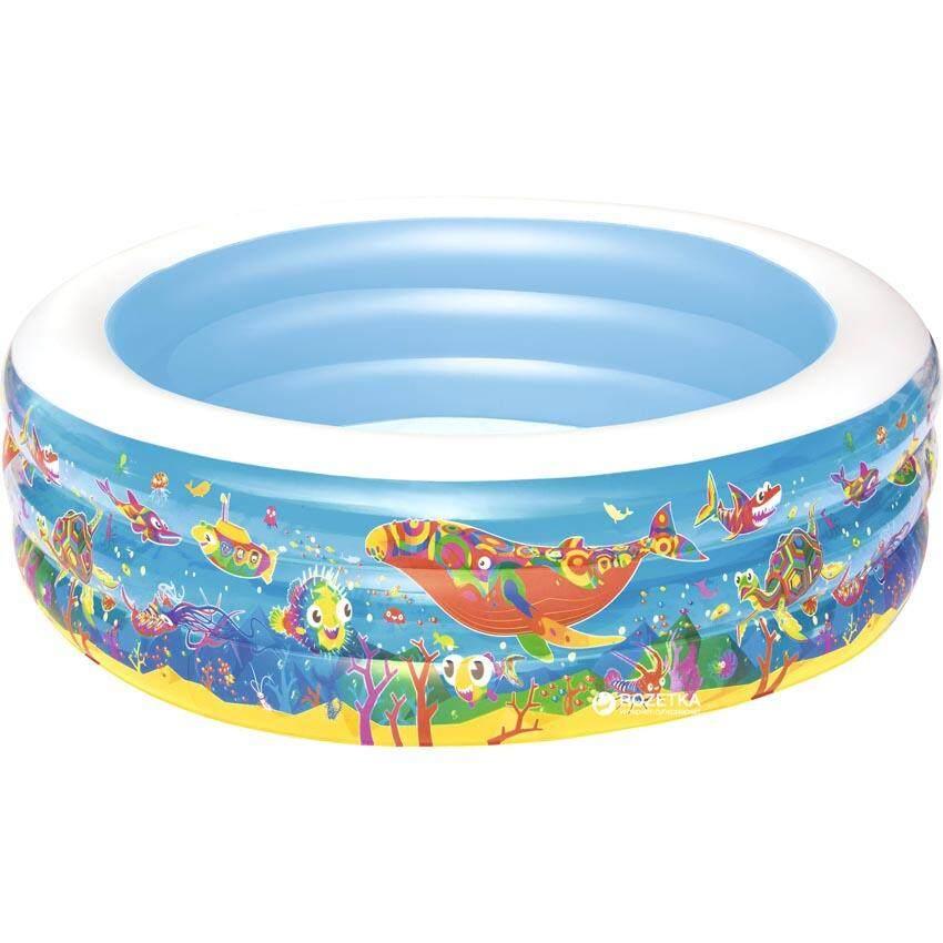 Bestway 51121 Inflatable Ocean World Play 3-Ring Pool 1.52m x 51cm Summer Garden Kids Family Swimming Pool