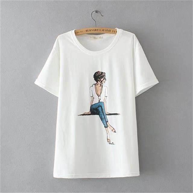 4XL Plus size Cotton printing t shirt women 2018 kawaii t-shirt Short  sleeves summer 9addb09d75ac