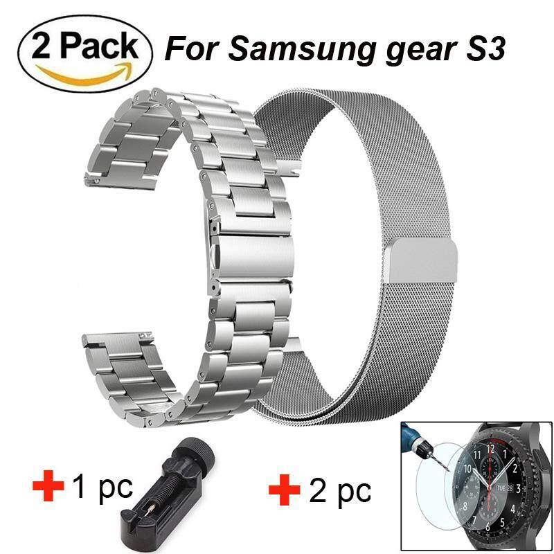 Hình ảnh 22mm 316L Stainless Steel Metal watchband + Milanese Stailnless Steel Loop watch strap + 2 pcsTempered Glass for S amsung Gear S3 Frontier/ Classic Sport Watch