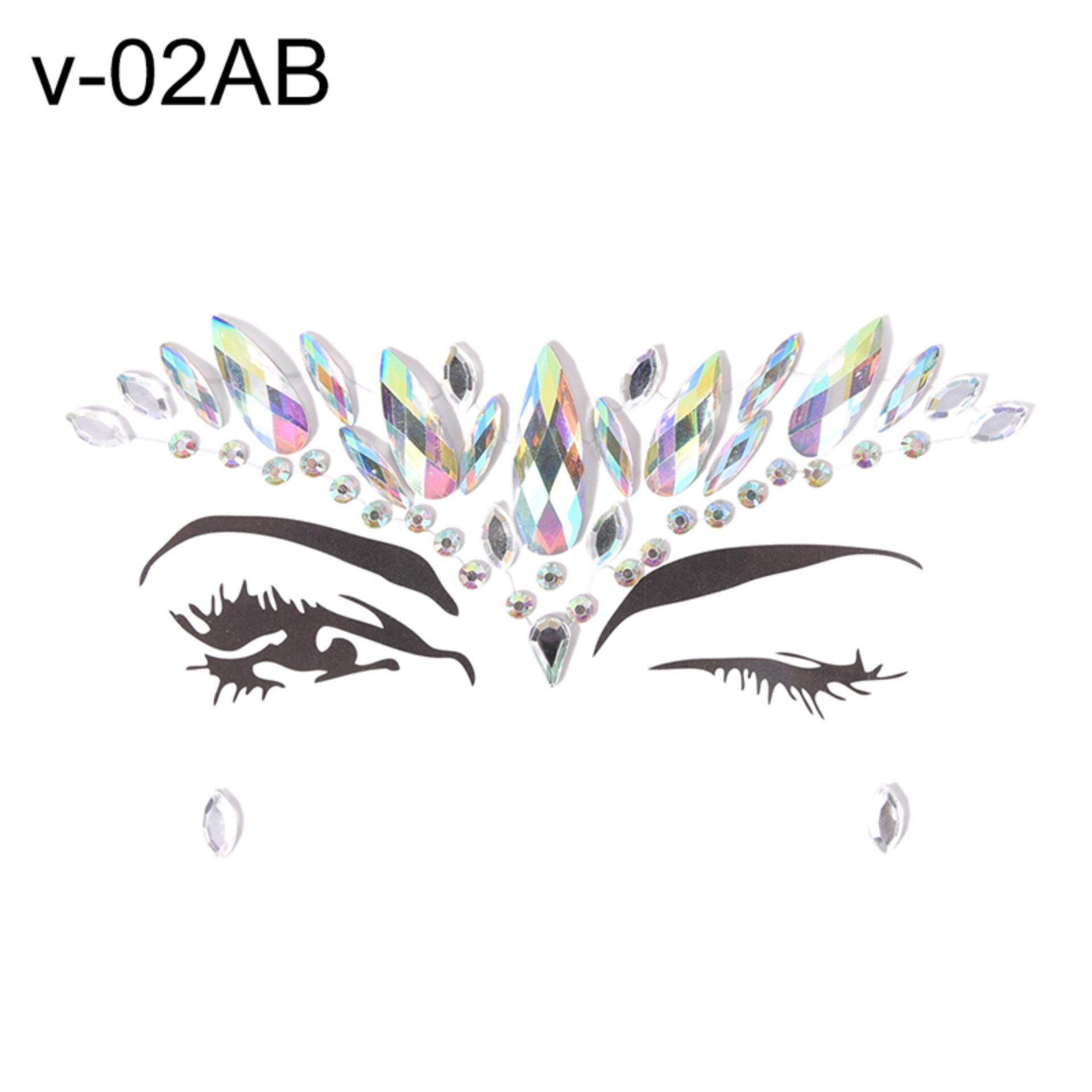Beauty Glitter Adornment Rhinestone Crystal Tattoo Body Jewels Adhesive Face Jewelry Color: V-02 AB - intl tốt nhất