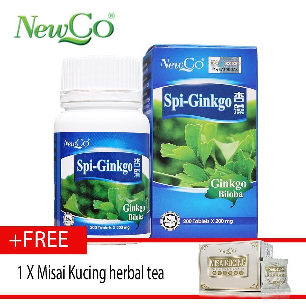 Newco Spirulina Ginkgo 200 tablets FREE misai kucing tea herbal tea