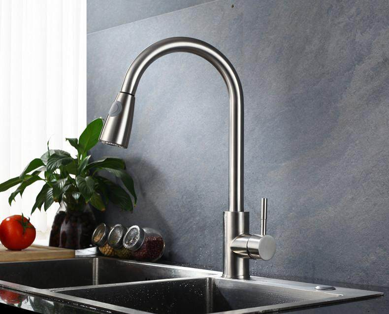 SUS304 Stainless Steel Kitchen Basin Sink Swan Neck Pullout Kitchen Spray Mixer Tap Faucet