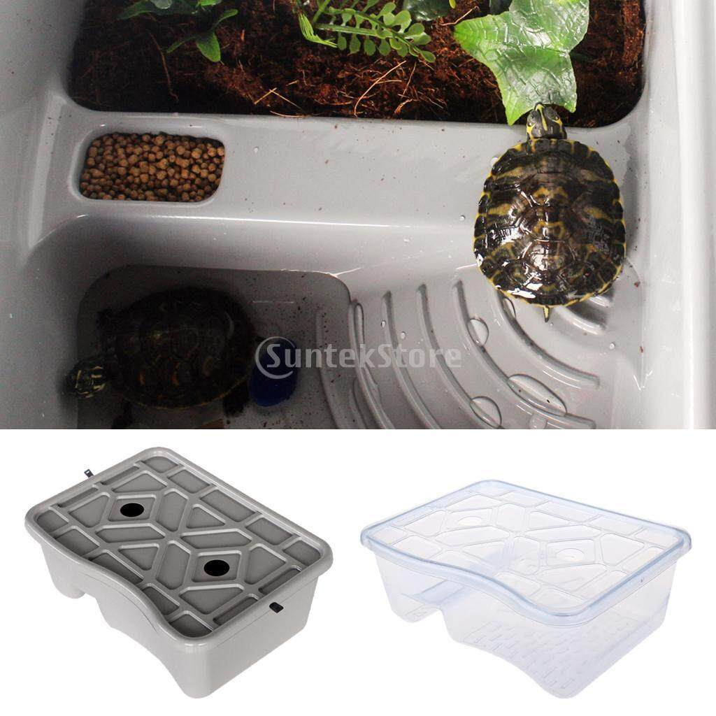 BolehDeals Lidded Reptile Turtle Terrapin Tortoise Vivarium Aquarium Tank Feeding Breeding Box with Basking Platform Ramp