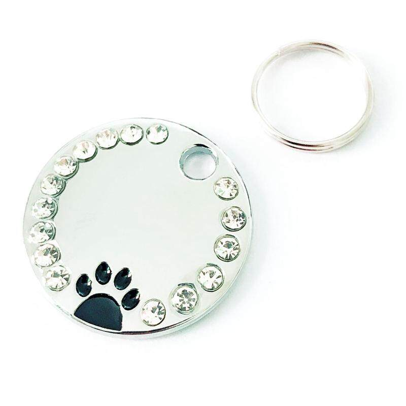 2pcs Personalised Engraved Paw Print Rhinestone Tag Dog Cat Pet Id Tags Reflective By Darahry.