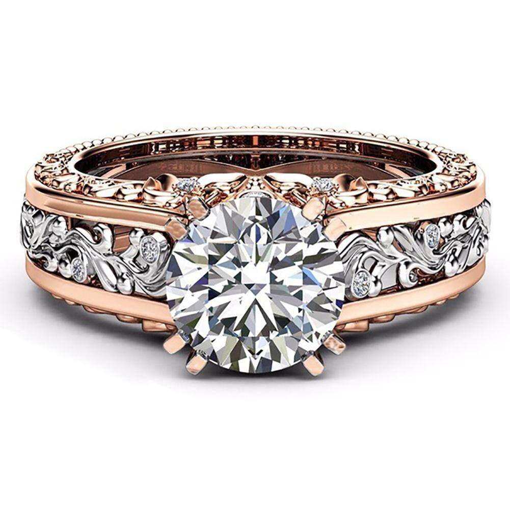 ❤skute Jewelry White Crystal Diamond Engagement Ring 14k Rose Gold And Silver Wedding Bridal Rings By Skute Official Store.
