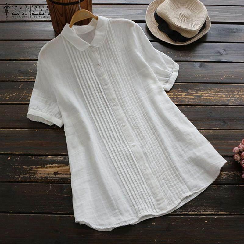ZANZEA Women Short Sleeve Casual Plain Shirt Tops Turn Down Collar Blouse Plus Size Tee