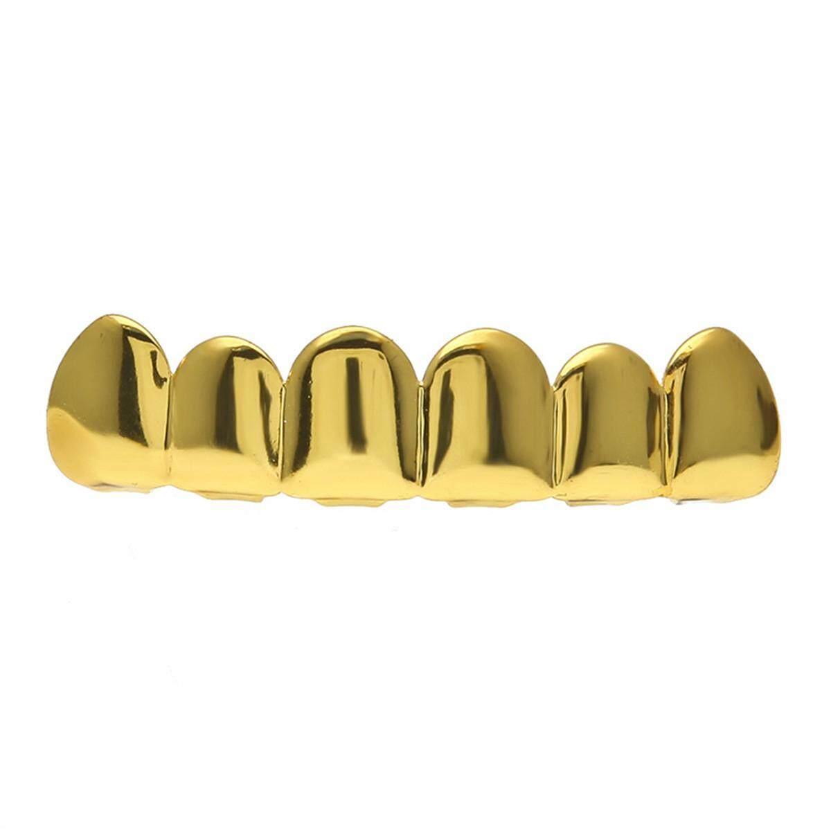 Hình ảnh Mạ vàng Hip Hop Răng Khuôn Răng Nón & Răng Dưới Vỉ Nướng Trang Trí Tiệc # Vàng Trên Răng