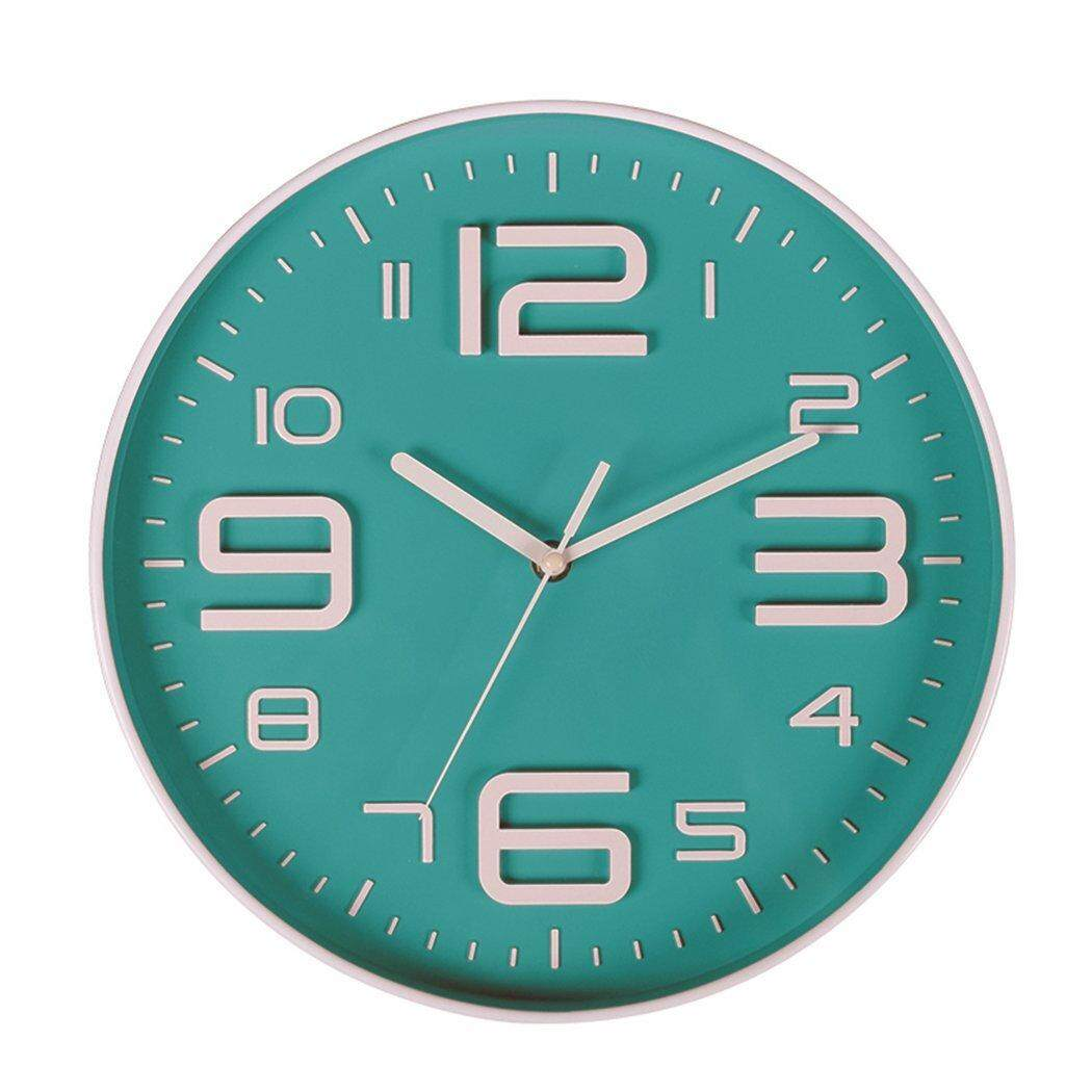 Indoor Big 3D Number Silent Wall Clock Quiet Sweep Movement Wall Clocks Battery Operated 10 Inch (Bluegreen) Free Shipping