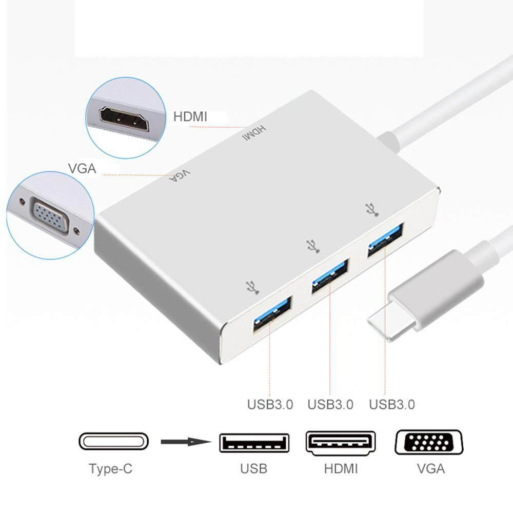 Goodgreat Type-C Ke Hdmi + Vga + Usb3.0 Adaptor Type C Untuk Vga Hdmi 4 K Alat Konversi Uhd Adaptor Dual Tampilan Layar -Intl By Good&great.
