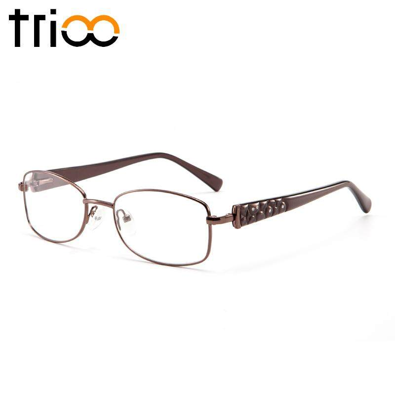 TRIOO Desain Mewah Berlian Minus Kacamata Wanita Kacamata Baca Logam Yang Jelas Oval Ungu Resep Kacamata Optik Kopi