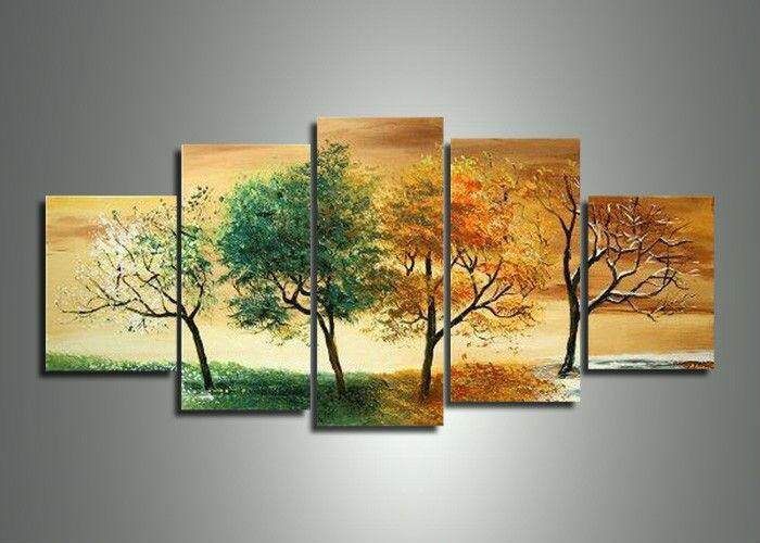 (unframed)Handpainted 5 Piece Modern Landscape Decorative 4 Season Tree Pictures Oil Paintings On canvas Wall Art For Home Decoration - intl