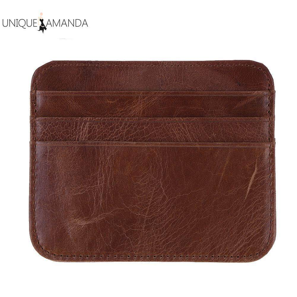 Mens card holders for sale mens card bags online brands prices unisex business genuine leather card coin holders slim id credit case pack intl reheart Gallery