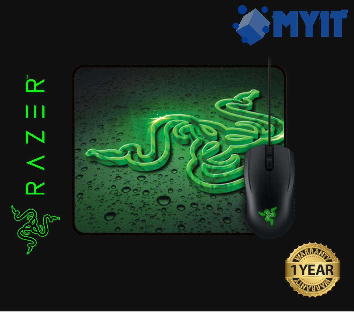 Razer Original Abyssus 2000 Gaming Optical Mouse with Goliathus Control Pad Surface Fissure Mousepad Combo Bundle Set