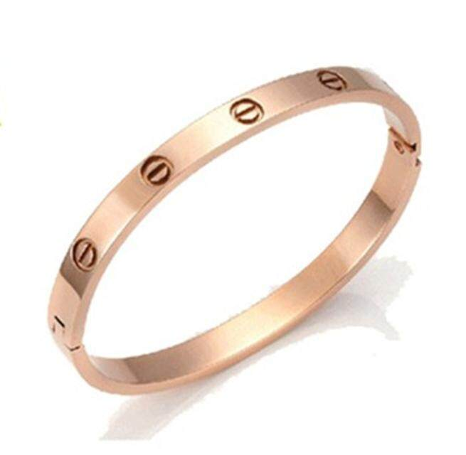 【Emas tanpa berlian】Korea Titanium Steel 18K Rose Gold Gelang Wanita Jepang dan Korea