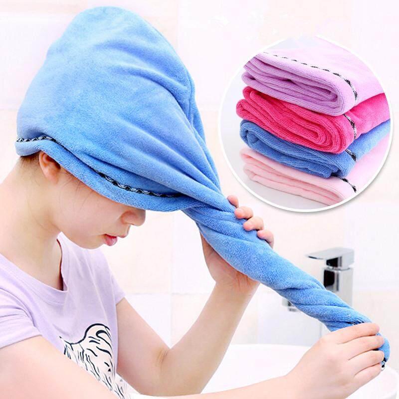Pengering Rambut Serat Mikro Handuk Wanita Cepat Kering Penutup Rambut Wanita Rambut Panjang Wrap Penyerap Twist