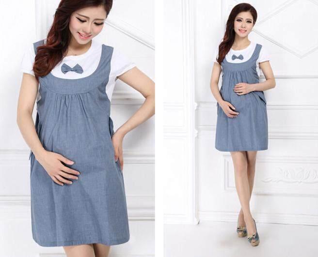 64852c2bfb508 Fergusonshop-Maternity Dress Bow Clothes For Pregnant Women Pregnancy Denim  Clothing BU/L