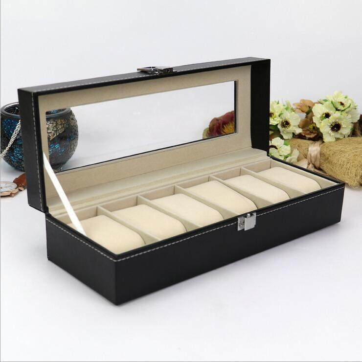 6 Slot PU Leather Watch Box Display Kotak Jam - 4 .
