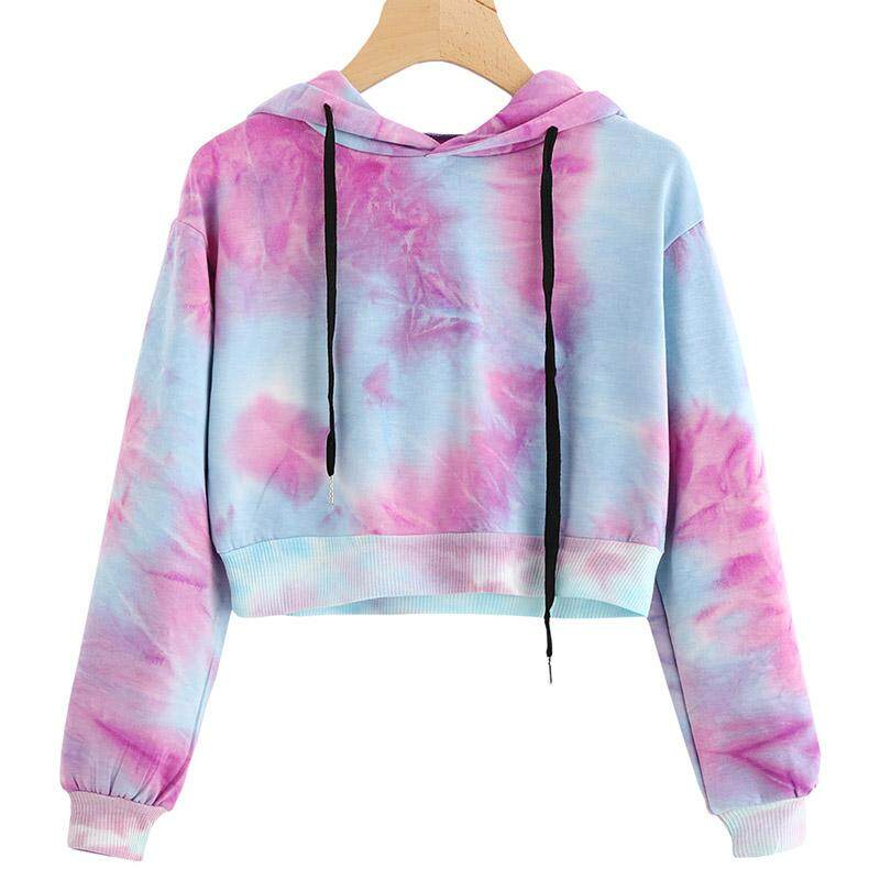 e05364f166f9e7 Women Sexy Water Color Hoodies Multicolor Long Sleeve Hooded Cropped Top  Hoodie Sweatshirt Drawstring Pullover Tie