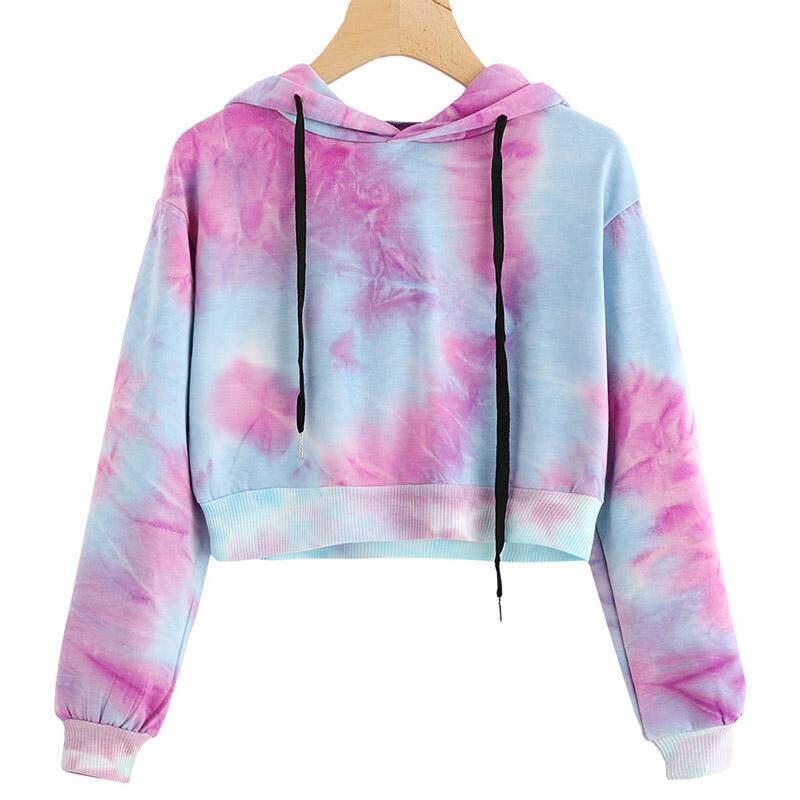 8a362fcf46 Women Sexy Water Color Hoodies Multicolor Long Sleeve Hooded Cropped Top  Hoodie Sweatshirt Drawstring Pullover Tie Dye Jumper Tops