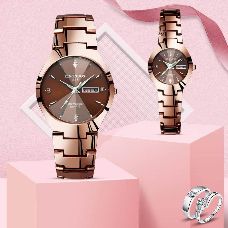 Fashion Couple Watch Men and Women Couple Watches Quartz Watches Date Week Stainless Steel Clock Luminous