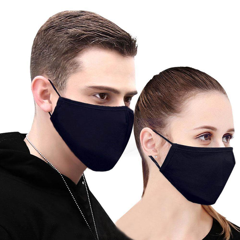 leegoal Unisex Anti-dust Solid Black Cotton Earloop Face Mouth Mask Muffle Set Of 2