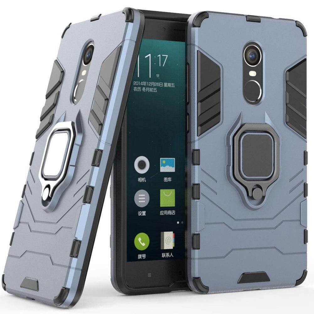 Untuk XIAOMi Redmi Note 4 Case, Silikon TPU dan Hard Pc Mewah Armor Shockproof Pemegang Cincin Logam Penutup Sarung Telepon Genggam