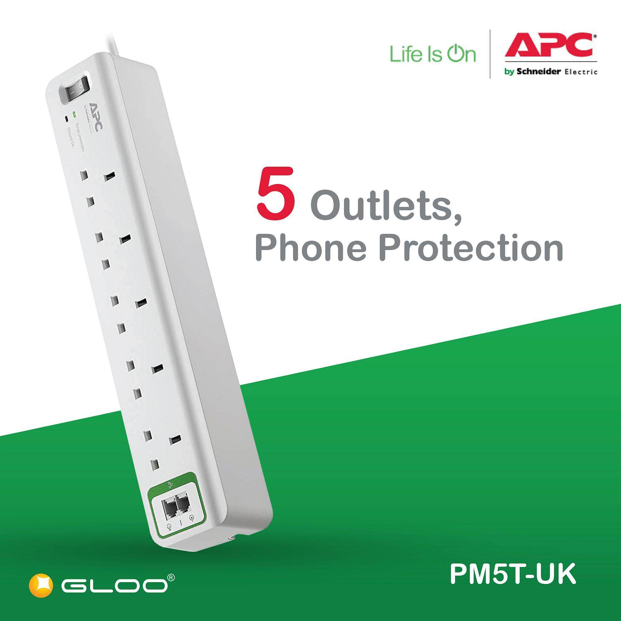 APC Essential SurgeArrest 5 outlets with phone protection 230V UK PM5T-UK - White [Free RM20 BHP Petrol Voucher from 29 Aug - 16 Sept 2019]