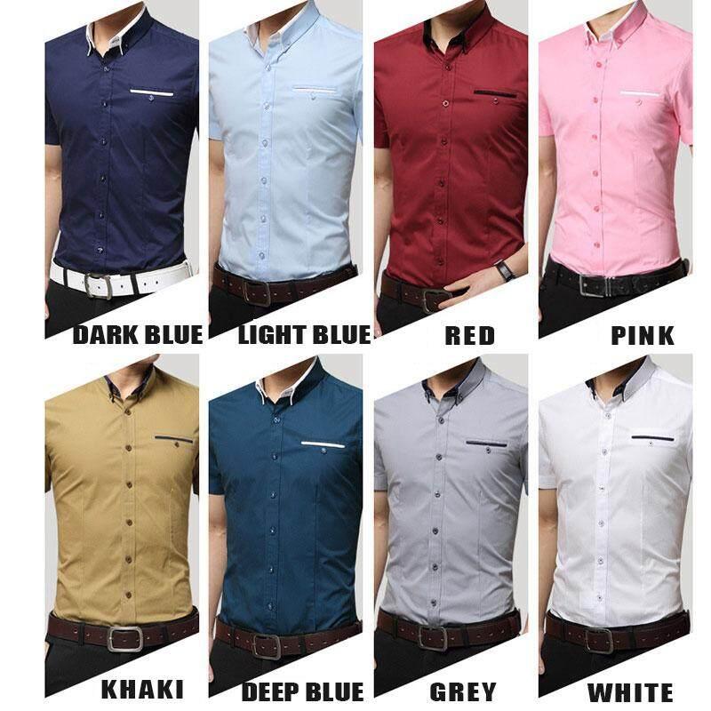 TF New Fashion Men Clothing Formal Shirts Pure Cotton Short Sleeve Slim Full .