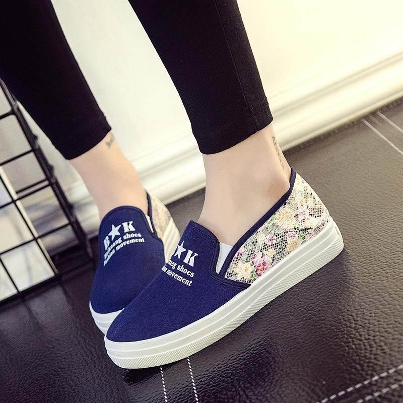 Sepatu Kanvas Wanita Sol Datar Anti Licin Santai Versi Korea (976 Hitam) - 3