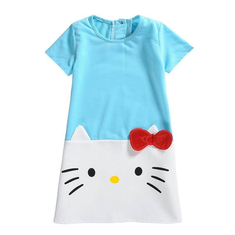 41e861d61895 Kid Girls Dresses Splicing Cute Kitty Cat Stitching Color Short-Sleeved  Cotton Summer Princess Dress