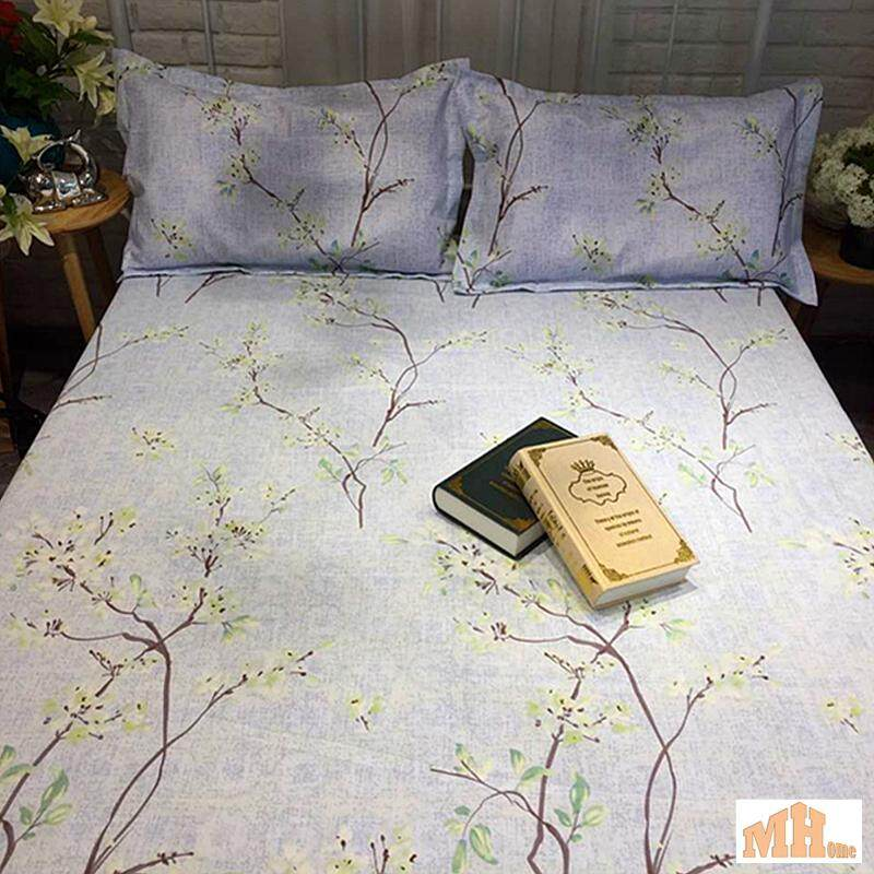 Maylee High Quality Cotton 2pcs Single Fitted Bedding Set 450TC White Tree