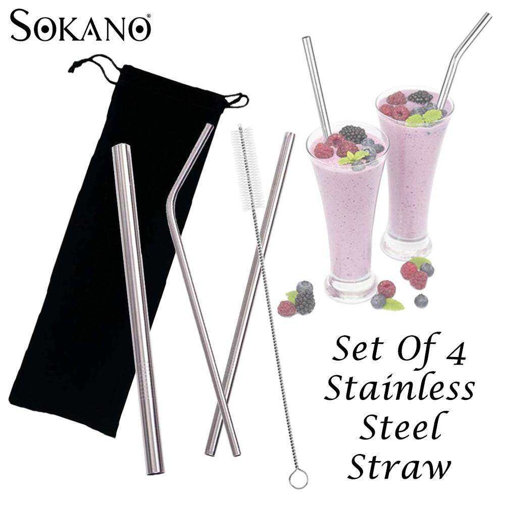 (RAYA 2019) SOKANO Set of 4 Stainless Steel Reusable Straws Beverage Straws 4 piece Combination Set with Carrying Pouch